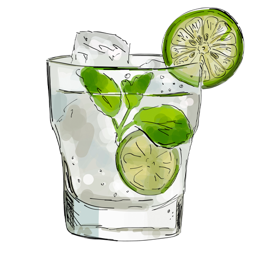 Skizze Glas mit Gin Rickey
