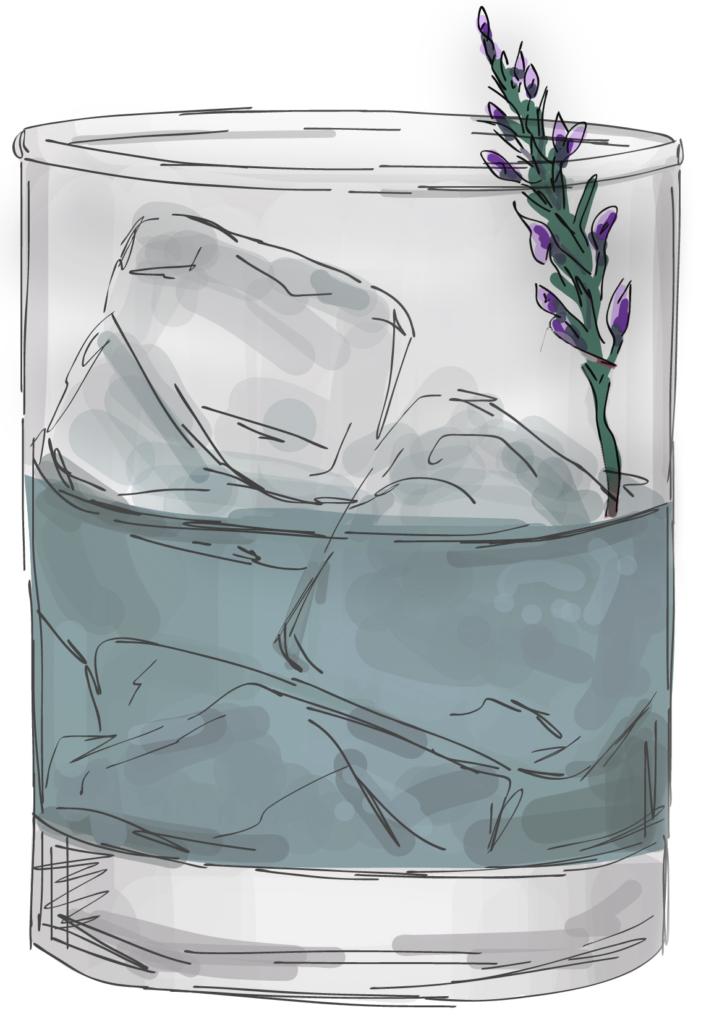 Skizze Glas mit Eiswürfeln und Lavendel